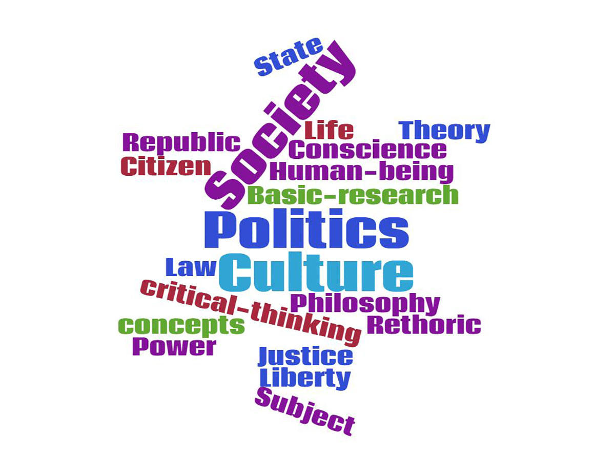 Word cloud with the words Society, Politics and Culture highlighted