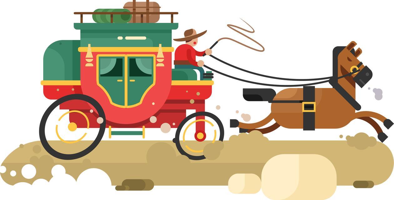 Hest og kjerre i fart