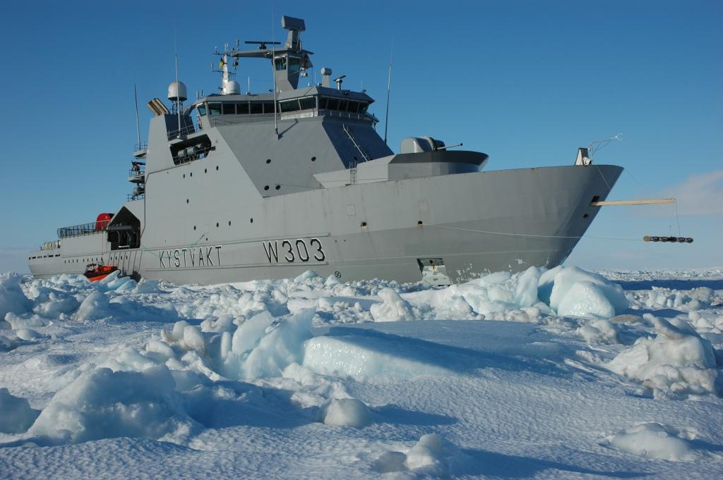 Norwegian coast guard ship KV Svalbard in the Barents Sea ice in March 2007