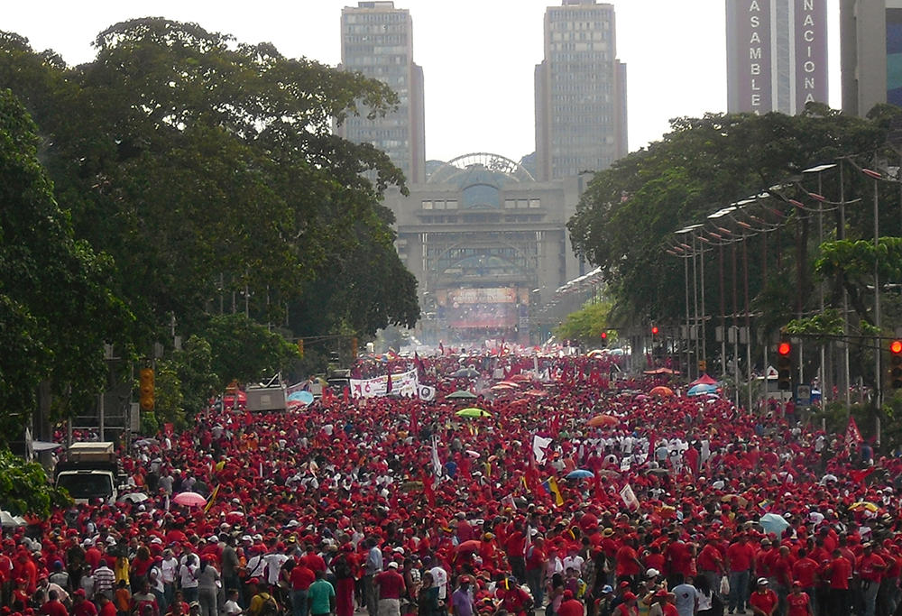 Labour's day celebration and mass meeting with  Hugo Chávez in Caracas, May 1, 2011