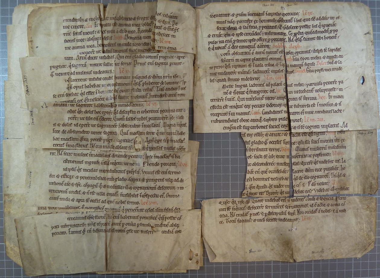 To facing pages of a manuscript, reconstructed from small rectangular fragments.