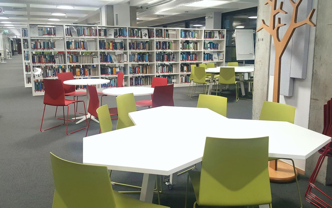Group tables at the Science library