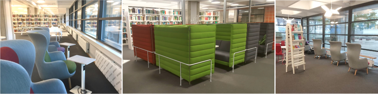 Chairs and working spaces at the science library