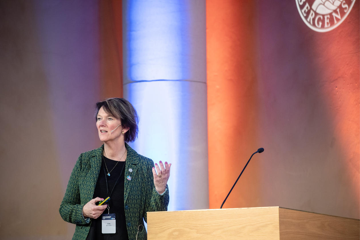 Director Lise Øvreås speaks at the inaugural Ocean Sustainability Bergen Conference on 21 October 2019.