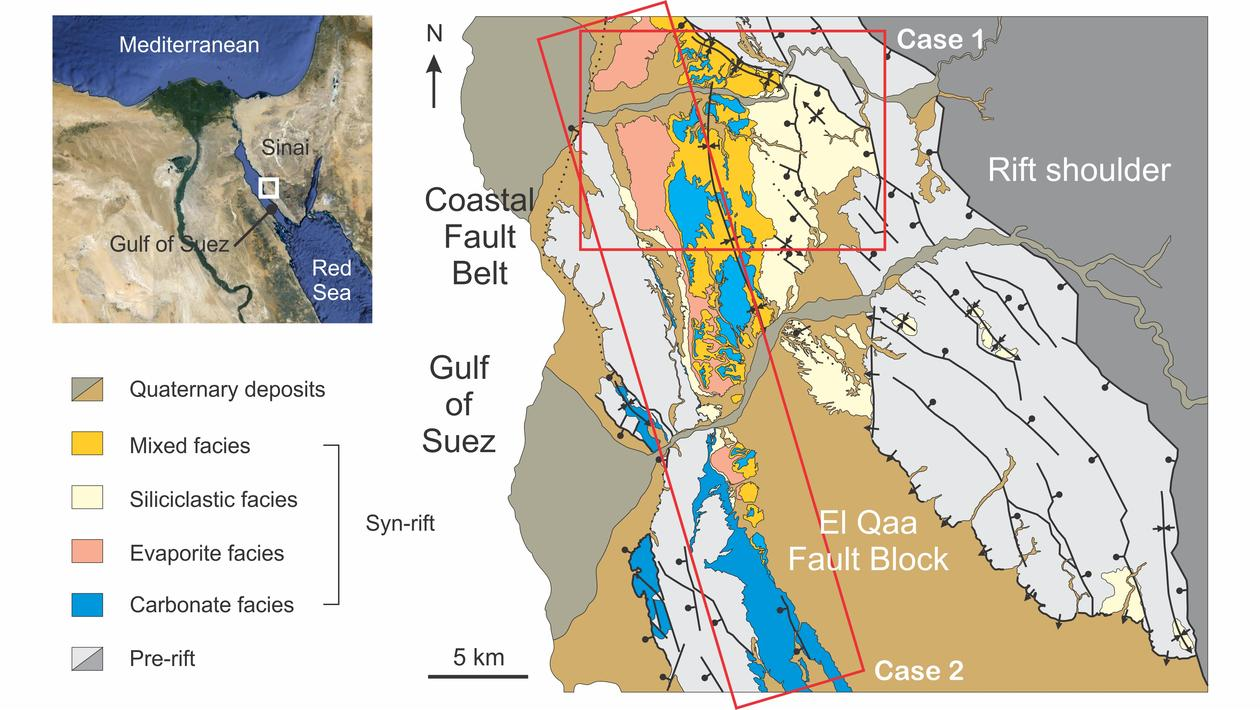Simplified map of the El Qaa Fault Block, Sinai, Egypt