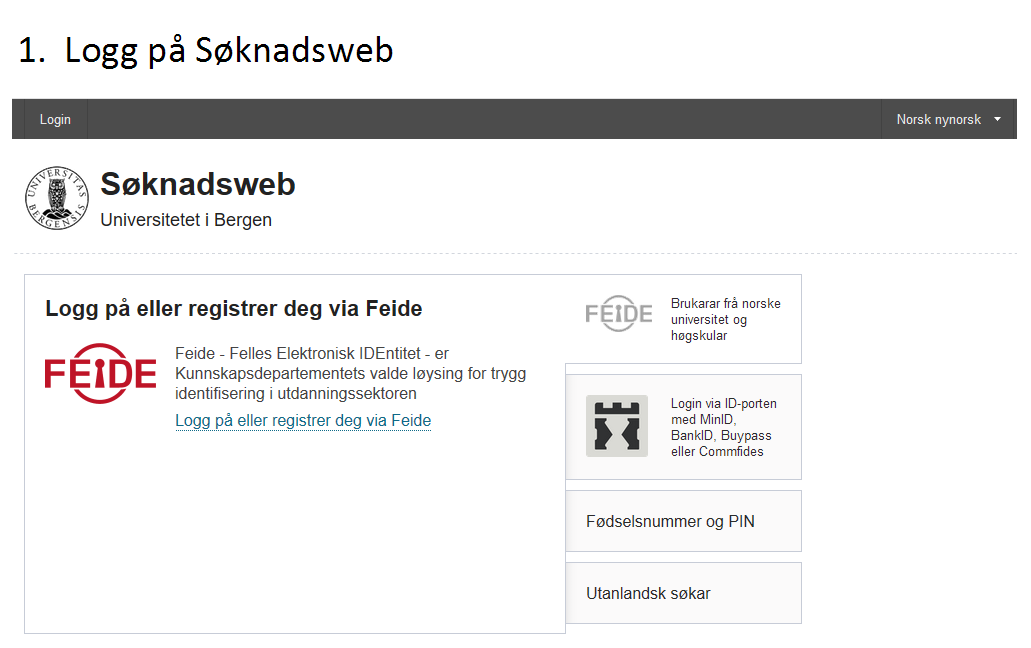 Logg på Søknadsweb