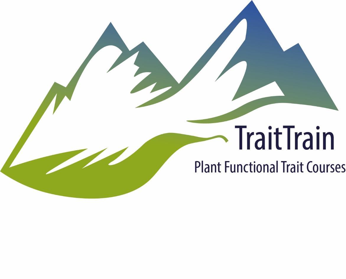 A stylised leaf leding to a mountain: logo for TraitTrain