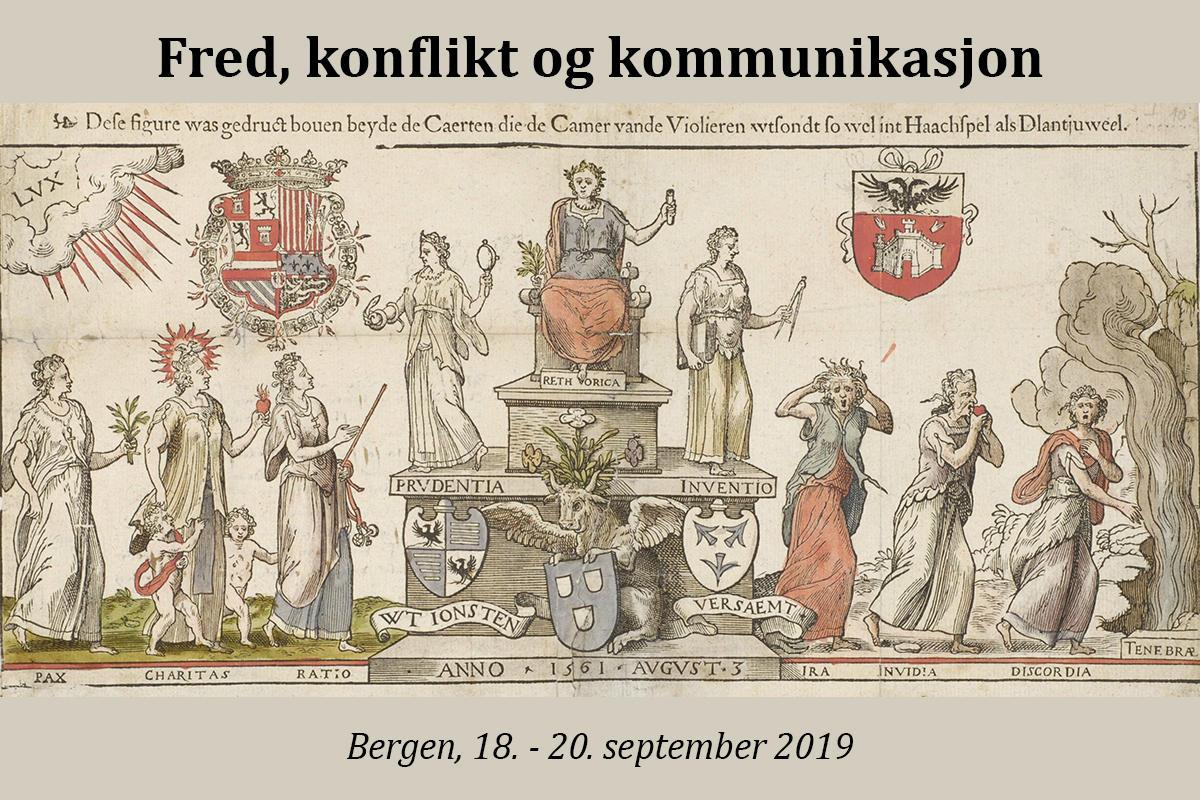 Biletet er frå ein invitasjon til kappleik som retorikklauget «De  Violieren» i Antwerpen sendte ut i 1561 (kjelde: Wikimedia Commons).