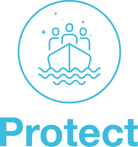 Logo of the Horizon 2020 project PROTECT, doing research on refugees and migration.