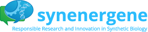 SYNENERGENE logo: Two speech bubbles, green and blue, where the blue one includes a cog and a DNA spiral. The project short and full names are cited in blue.