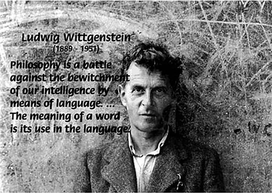 Wittgenstein med et sitat om hans syn på ords mening som ordets bruk i språket.