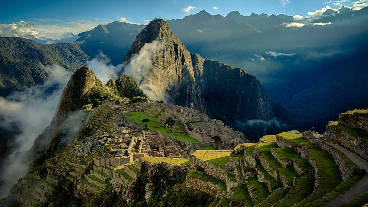An aerial view of the abandoned Inca town of Machu Picchu in Peru