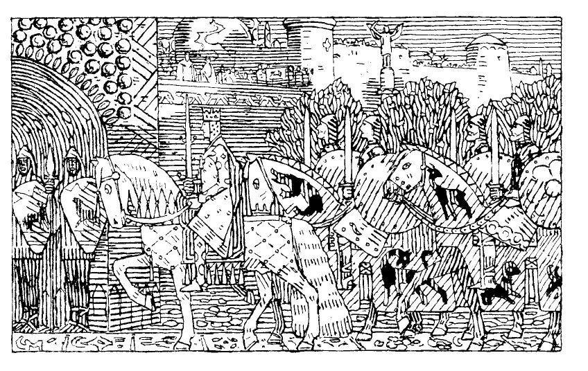 """""""Kong Sigurd og hans men rir inn i Miklagard."""" Gerhard Munthe, illustrasjon til Snorres Kongesagaer 1899"""