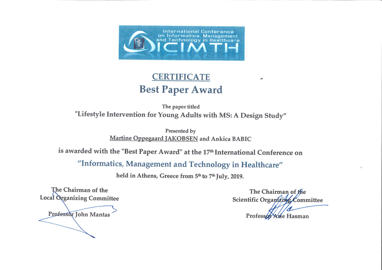 Certificate for best paper award