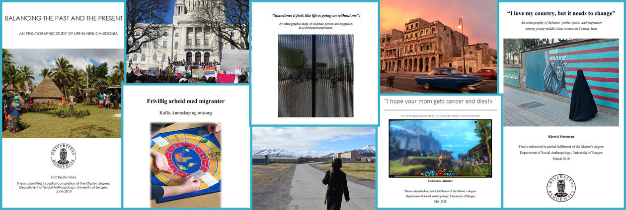 Forsider masteroppgaver i sosialantropologi