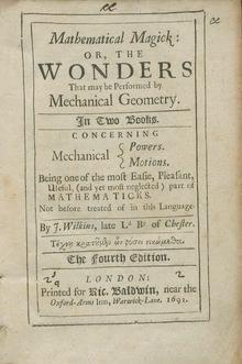 Bilde av forsiden på John Wilkins bok Mathematical Magick