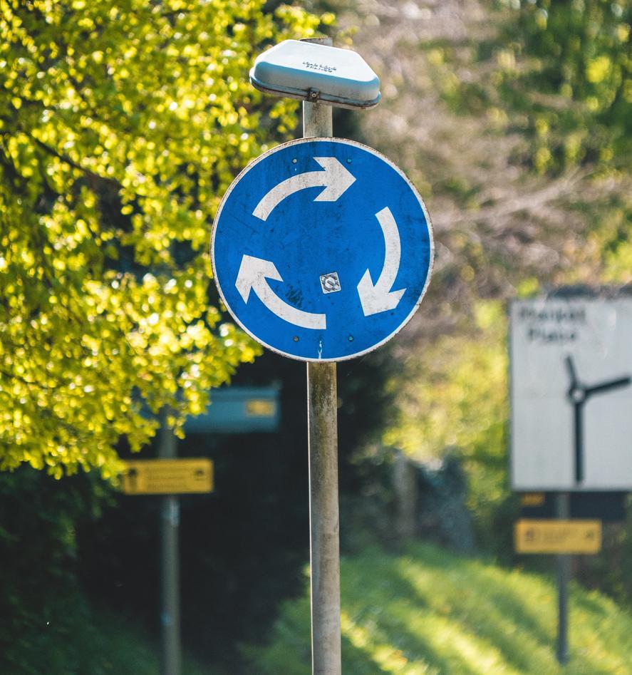 Traffic sign illustrating circular economy