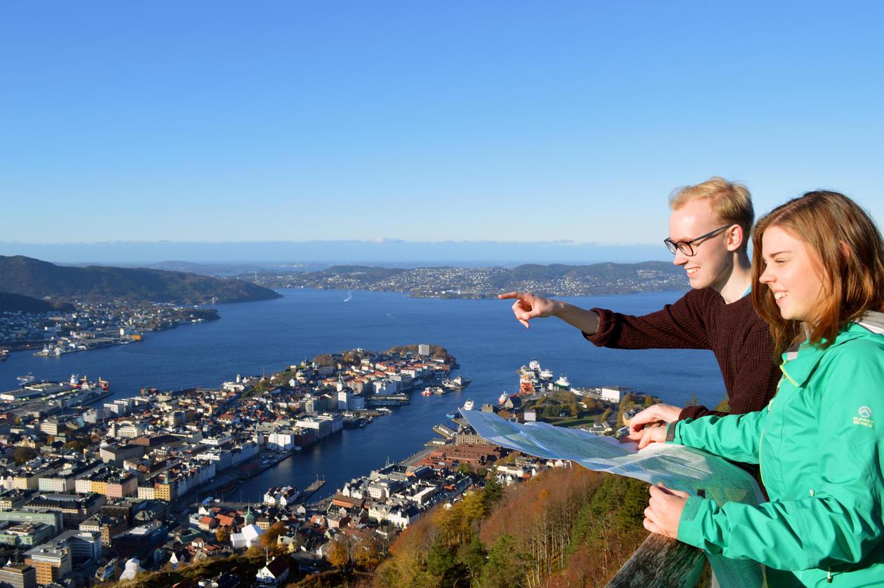 Geografistudentar på Fløyen