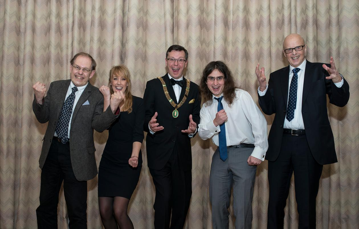 Jumping for joy after the Meltzer Research Fund Awards show on Friday 7 March 2014, left to right: Prize winners Gunnstein Akselberg and Maja Janmyr, UiB Rector Dag Rune Olsen, and prize winners Michał Pilipczuk and Kenneth Hugdahl.