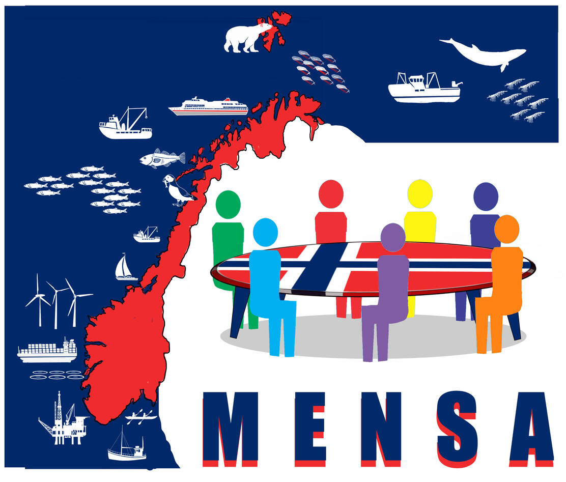 A map of Norway in red, an ocean filled with windmills, oil rigs, fish and ships, and figures sitting around a table made up of the Norwegian flag. The word MENSA is written below.