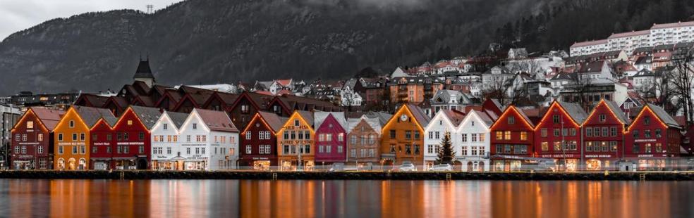 Illustrasjon av Bryggen i Bergen
