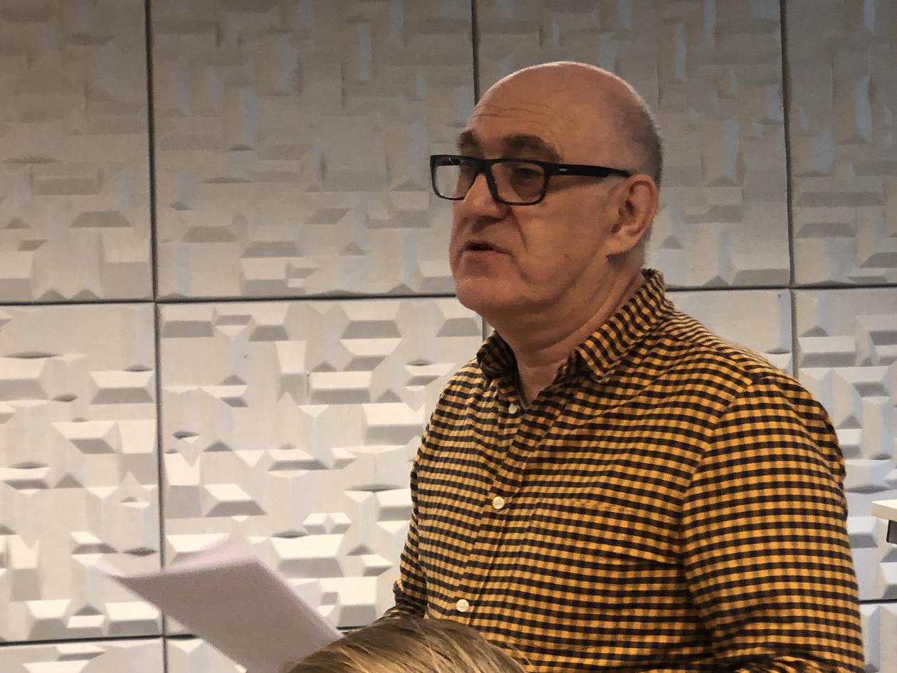 Daniel Apollon giving a presentation
