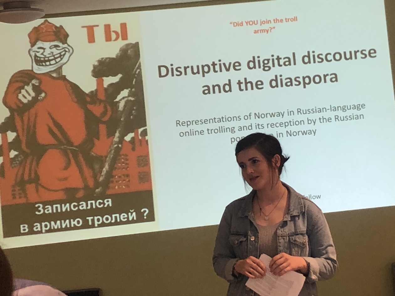 "johanne Kalsaas with the title page of ther powerpoint presentation ""Disruptive digital discourse and the diaspora"""