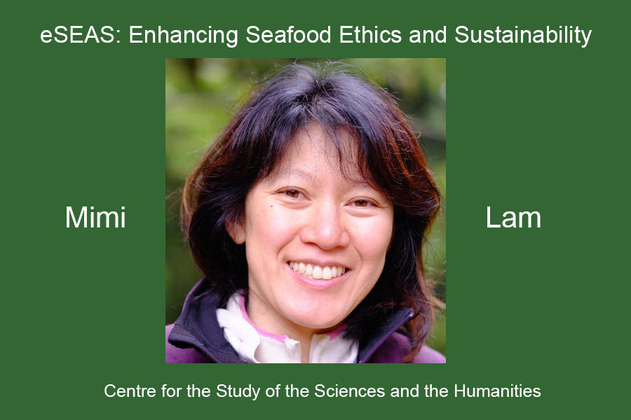 """Mimi Elizabeth Lam and the title of her lecture: """"eSEAS: Enhancing Seafood Ethics and Sustainability"""""""