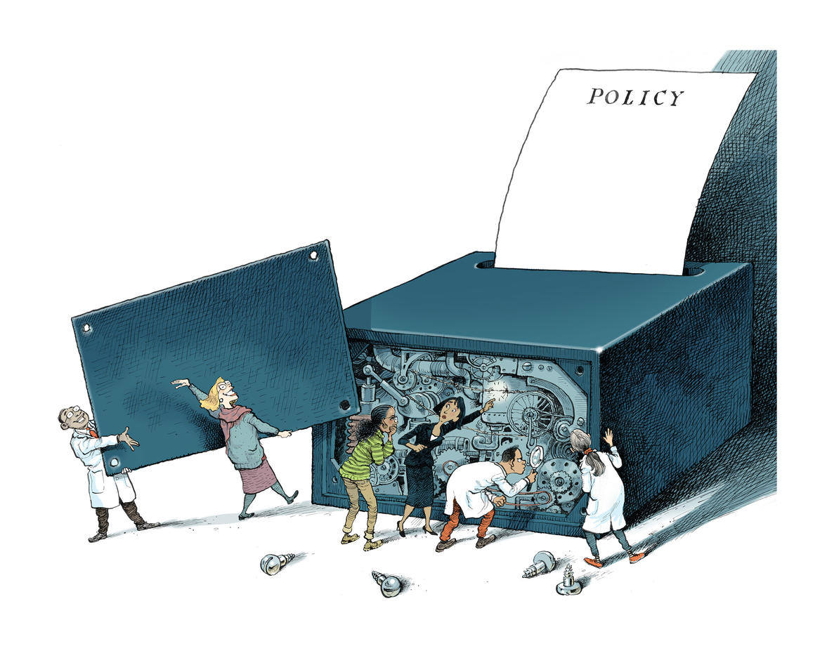 Illustration: Researchers study the nuts and bolts of a box producing policy