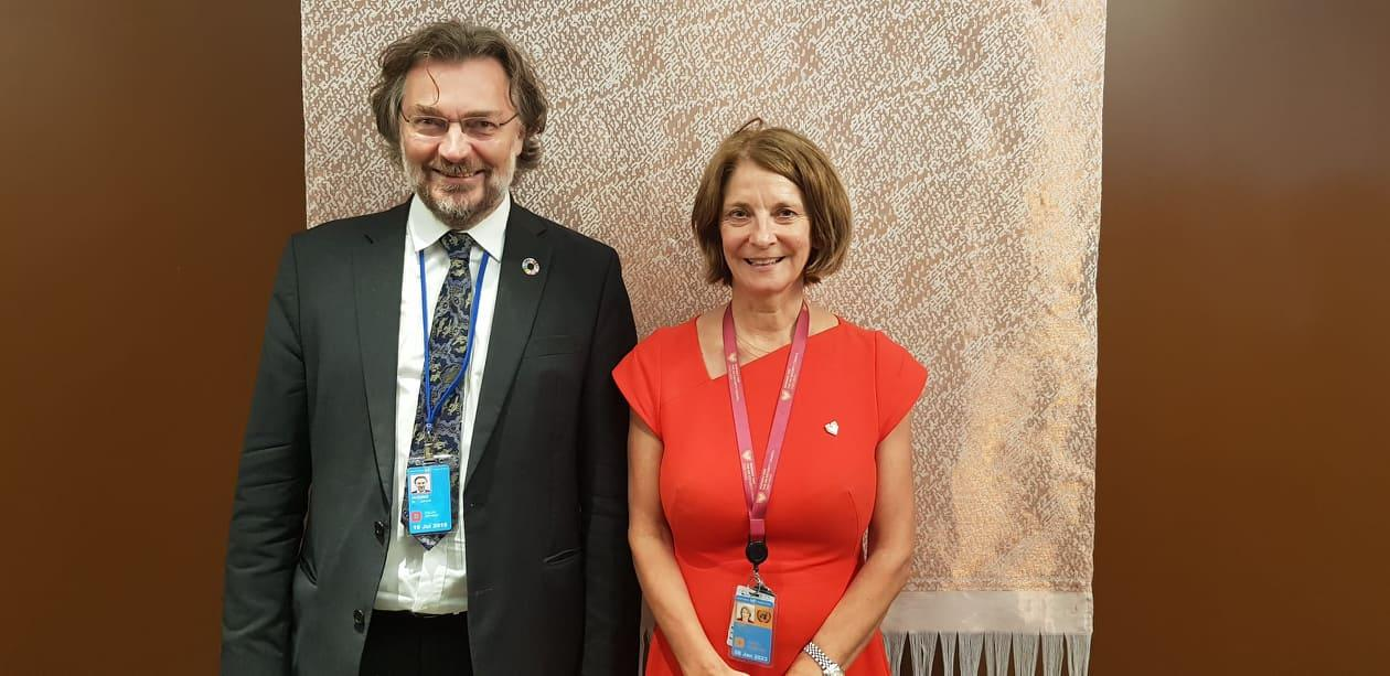 Norway's Ambassador Mona Juul and Professor Edvard Hviding from the University of Bergen after the side event on partnerships for climate action on 12 July 2019 at the Norway Mission to the UN.