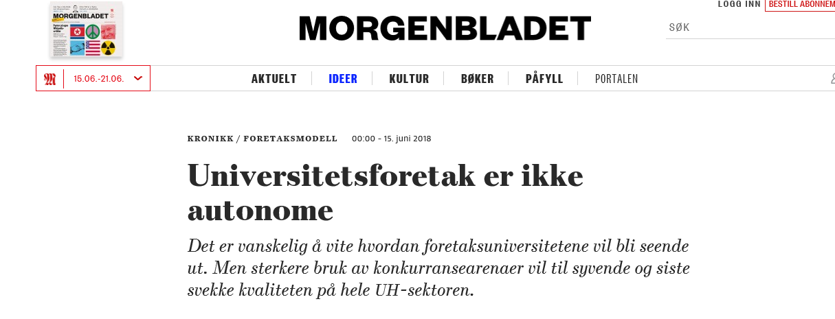 Utsnitt av overskrift i Morgenbladet