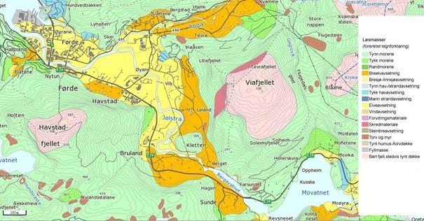 Kart over feltområdet for Henry Ravndal MSC geovitenskap høsten 2020
