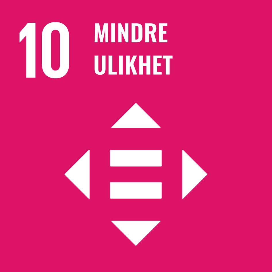 Logoen til bærekraftsmål 10 – mindre ulikhet