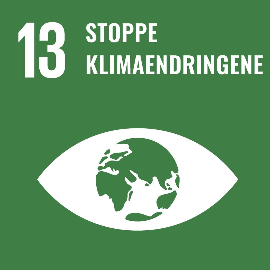 Logoen til bærekraftsmål 13 – stoppe klimaendringene.
