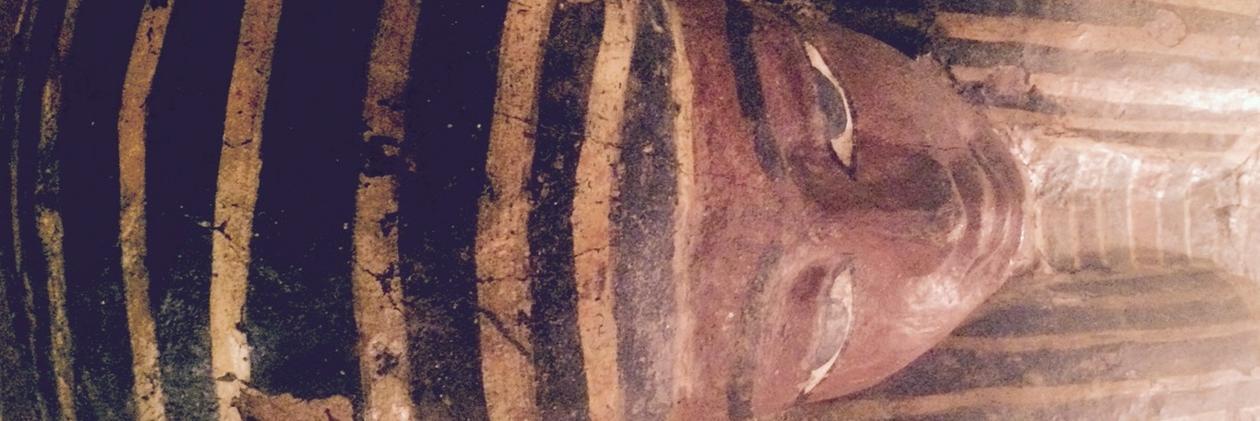 ansiktet på en egyptisk sarkofag