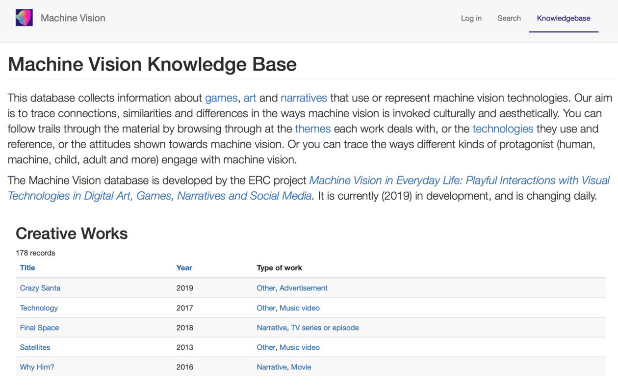 Screenshot of front page of database showing description and a list of works.