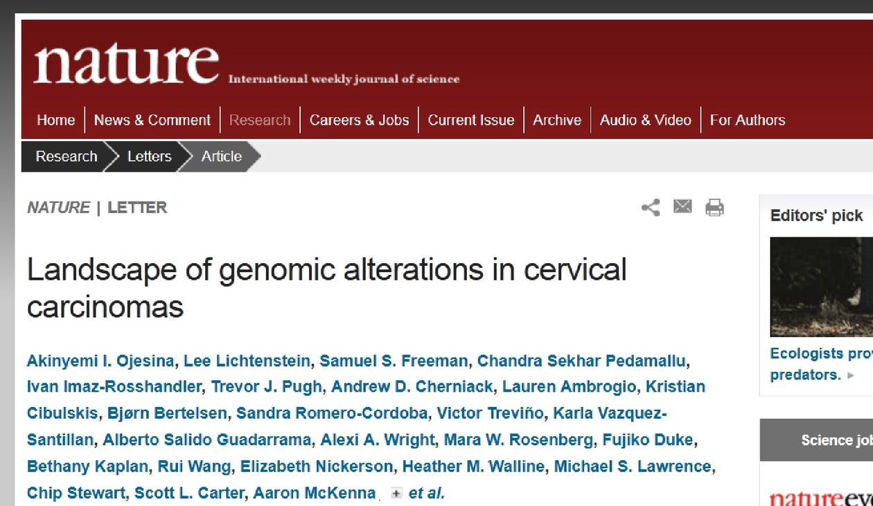 Nature Magazine showing article Landscape of genomic alterations in cervical carcinomas