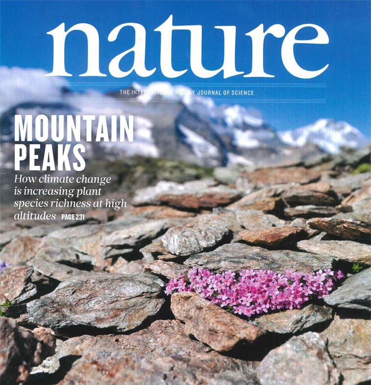 Front cover of Nature journal with a photo of Androsace alpina on a mountain summit