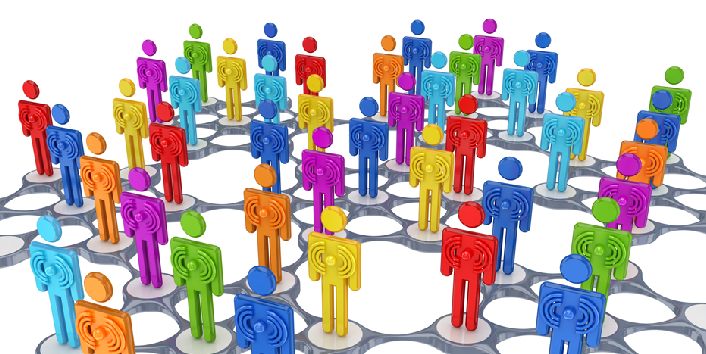 En rekke plastfigurer i grupper knyttet sammen i nettverk
