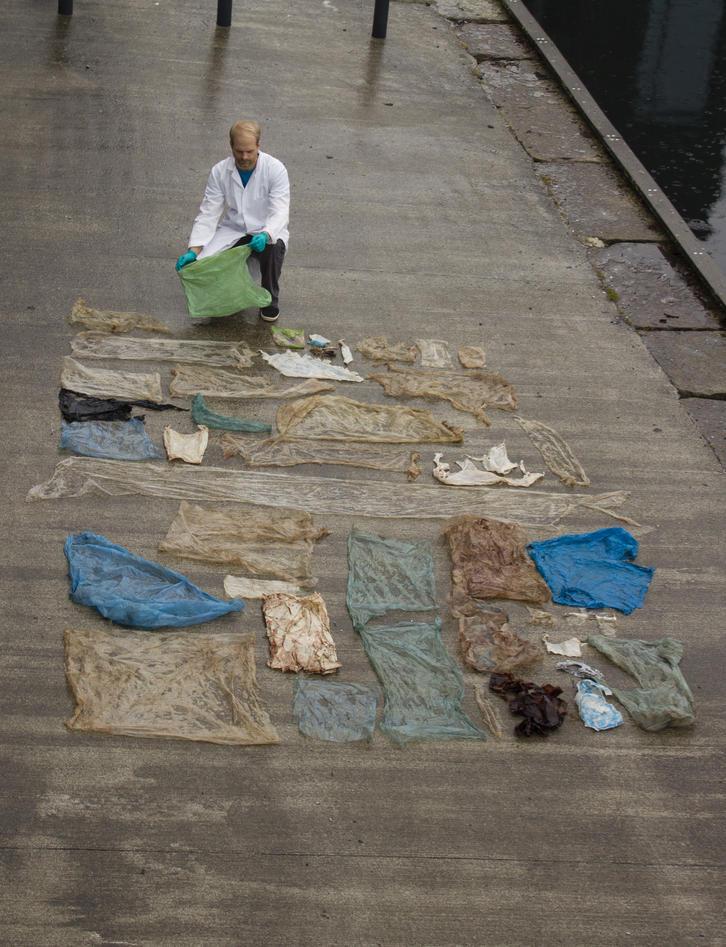Christoph Noever sprettet opp hvalen som strandet på Sotra og oppdaget all plasten som var i magen. Her har han lagt plasten ut for å illustrere.