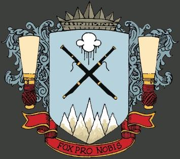 emblem for fagottsymposiet. to fagotter i kors, regnsky over, syv fjell under, rørblad på hver side og teksten fox pro nobis under.