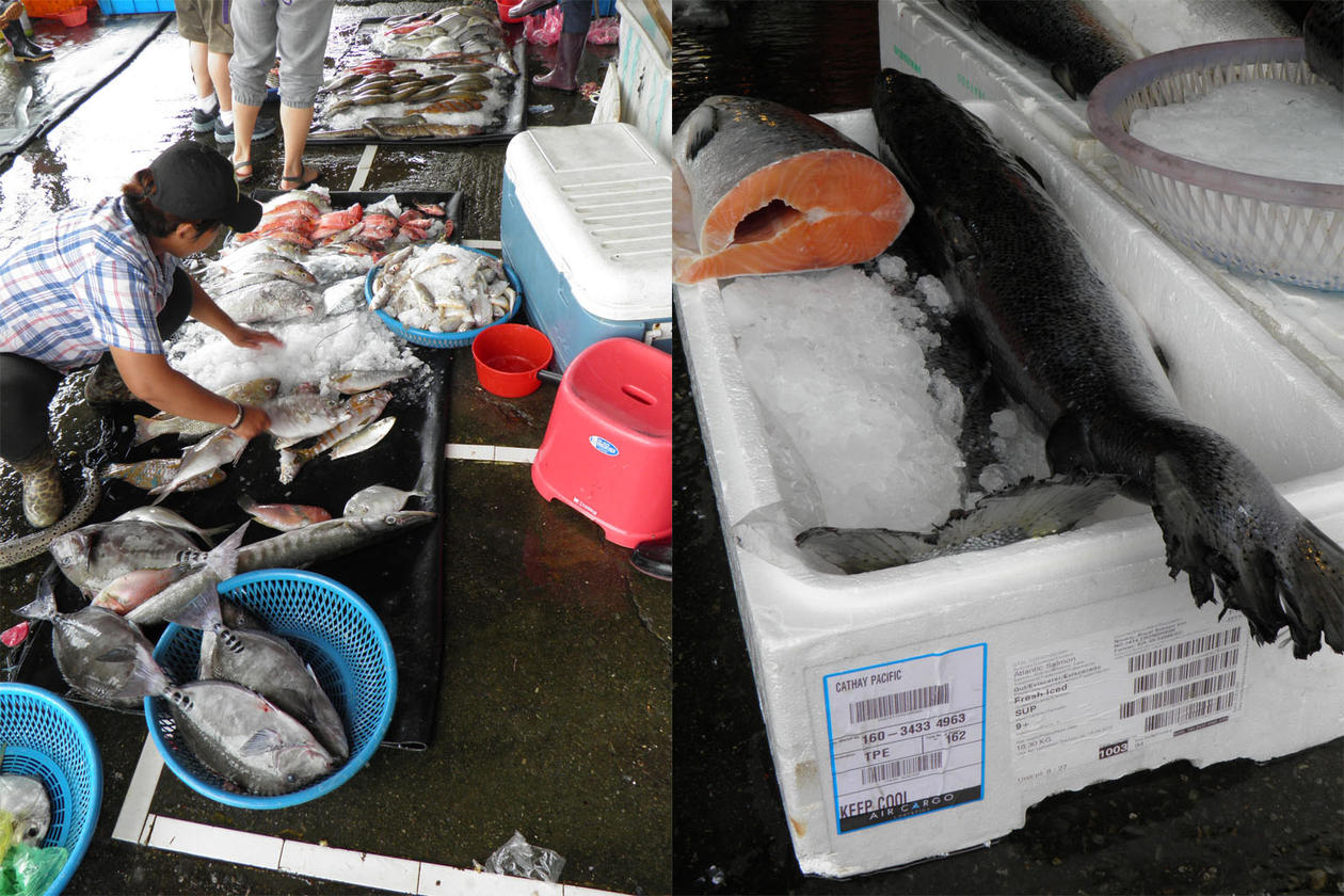 Composite of a view of seafood market with a seller and basket of fish, and a box of salmon on ice