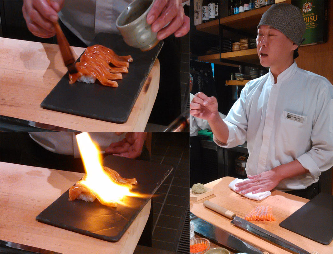 Composite of sushi in preparation and a sushi master