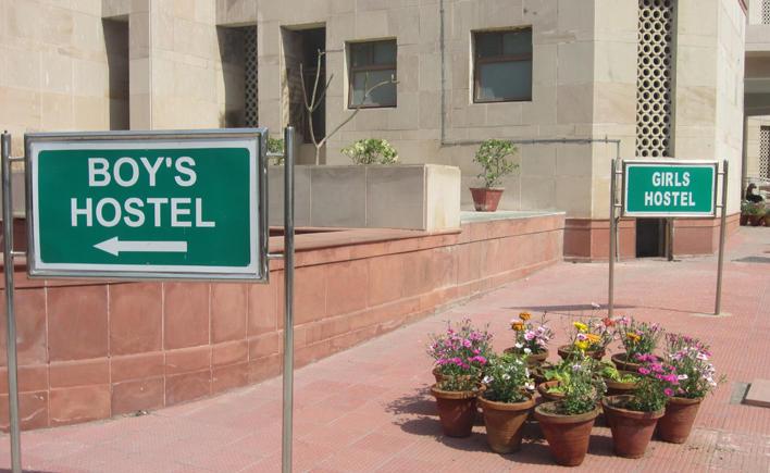 Boy's hostel sign
