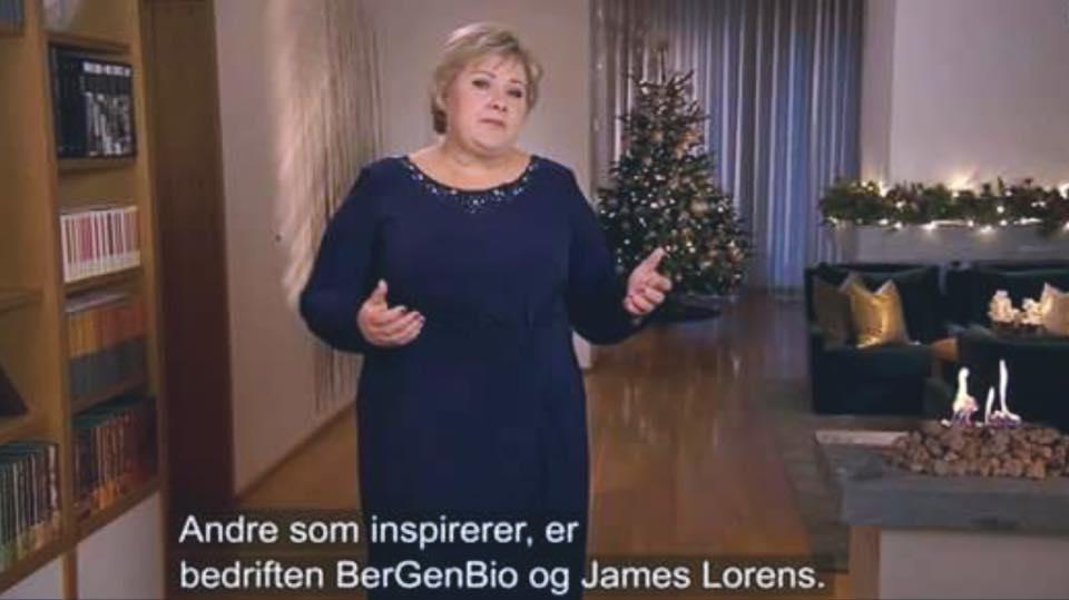 Skjermdump fra statsministerens nyttårstale på NRK 1. januar 2017.