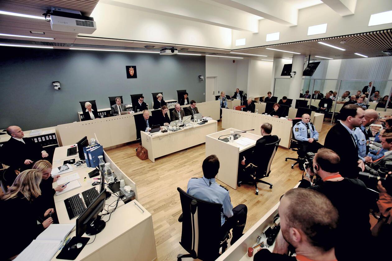 Bilde fra rettssaken mot Breivik