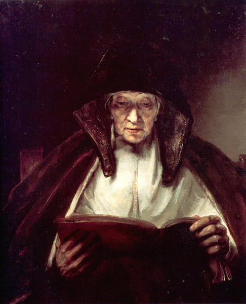 Rembrandt, Old woman reading 1655