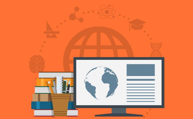 Grafisk illustrasjon PC-skjerm, stabel med bøker og koppeholder med penner.