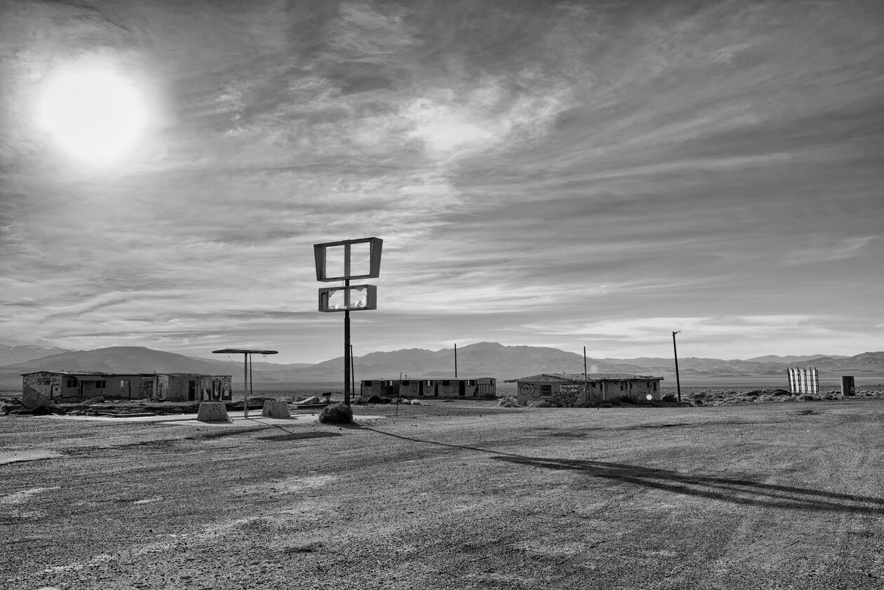Abandoned gas station in desert