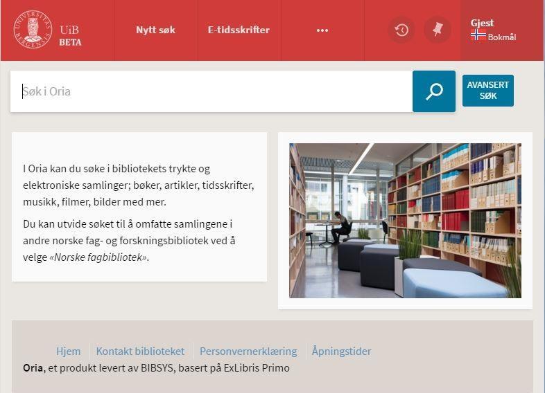 Sjerndump av nettforsiden til biblioteket